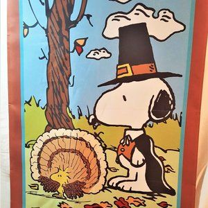 Snoopy & Woodstock Thanksgiving Day Outdoor Flag